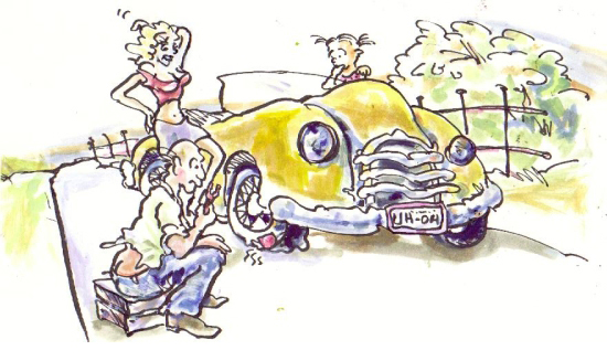 an illustration of a mechanic fixing a car